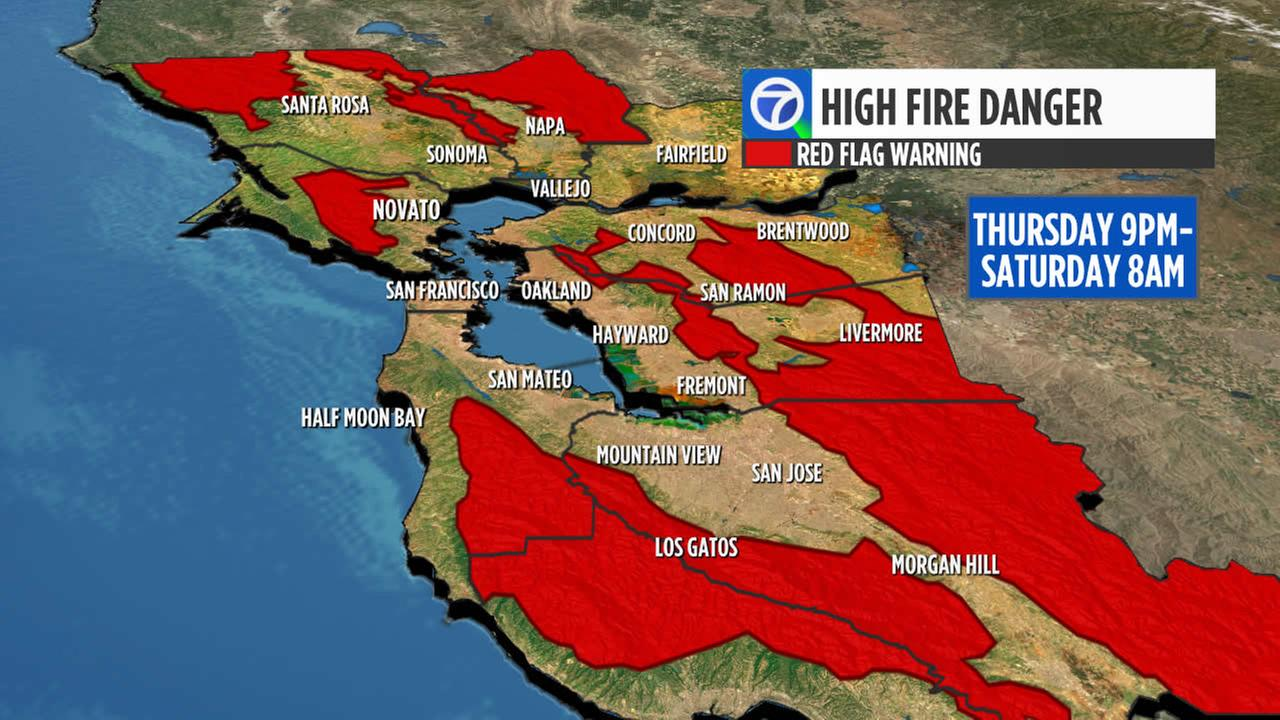 An image showing high fire danger in the Bay Area during a heat wave is seen on Thursday, August 31, 2017.