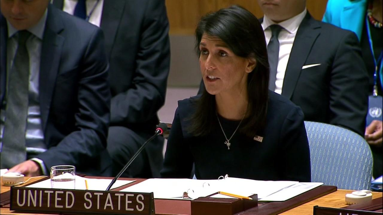 Ambassador Nikki Haley is seen speaking to the United Nations Security Council on Monday, September 4, 2017.