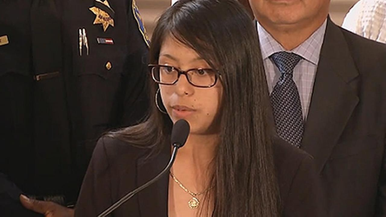 A DACA recipient is seen speaking at a press conference in San Francisco, Calif. on Tuesday, September 5, 2047.
