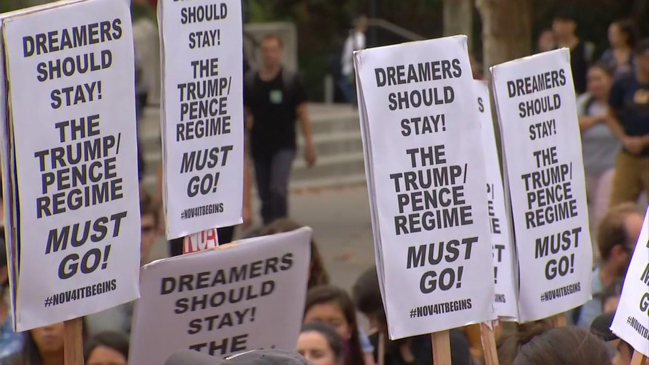 Protesters are seen at U.C. Berkeley on Tuesday, September 5, 2017.