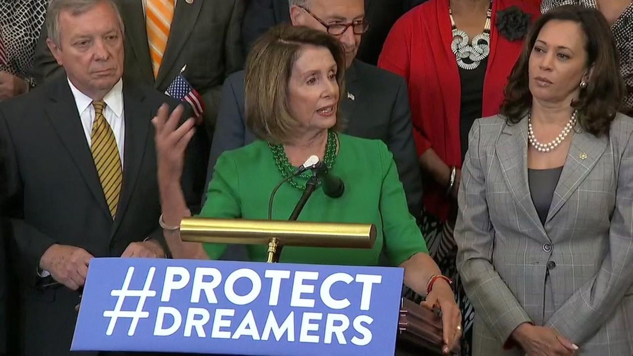 Congresswoman Nancy Pelosi is seen speaking at a press conference about DACA in Washington, D.C., on Wednesday, September 6, 2017.