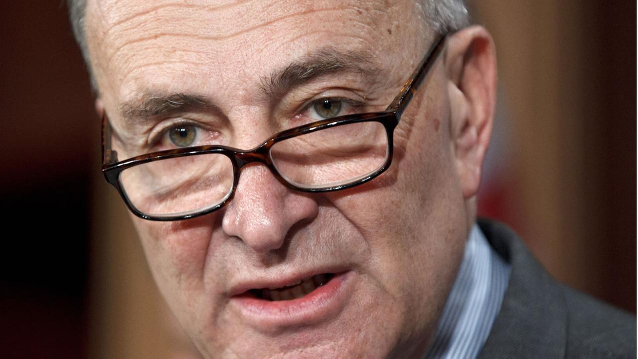 In this Feb. 1, 2012 photo, Sen. Schumer, attacks the secrecy of super PAC donors to the Republican presidential candidates, during a news conference on Capitol Hill. (AP Photo)