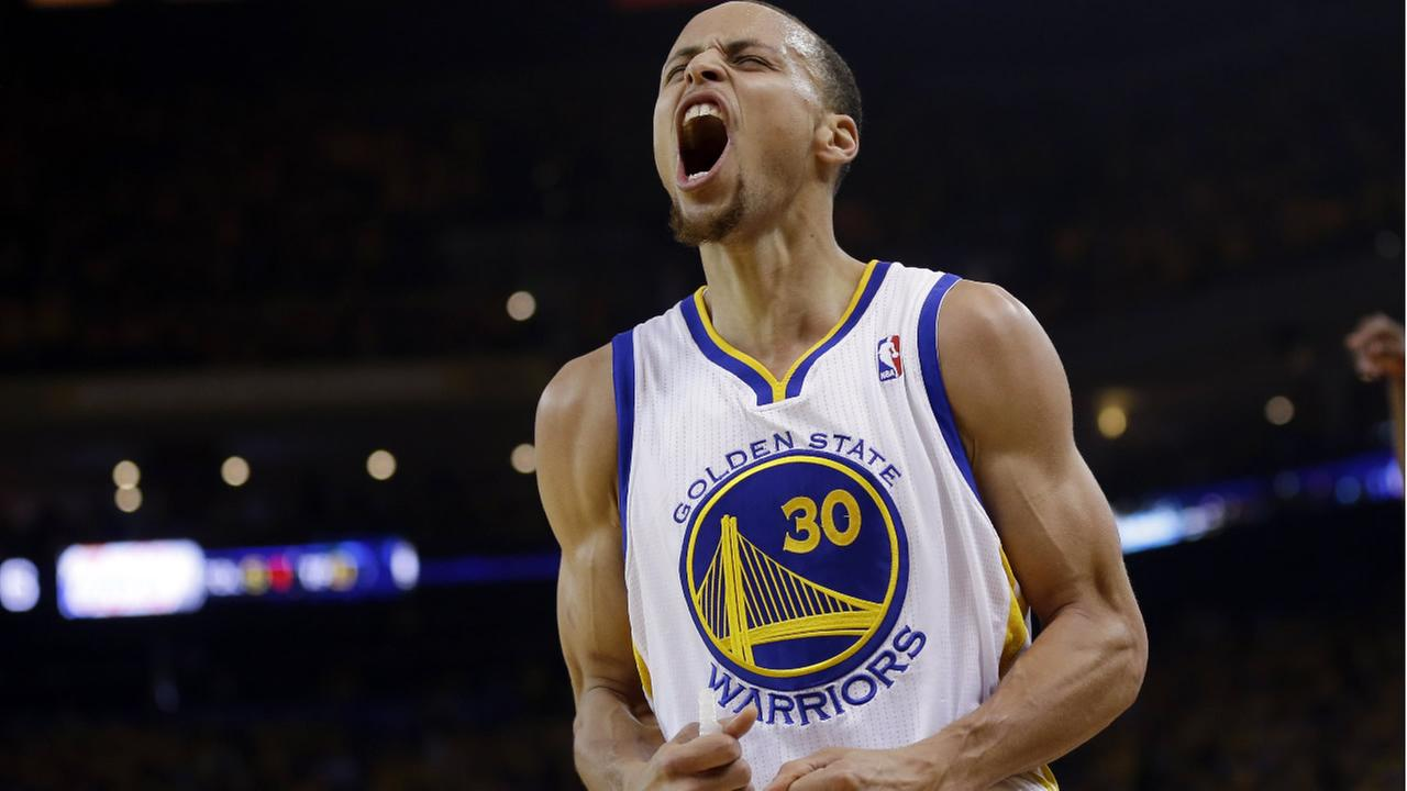 FILE - In this April 27, 2014,  Warriors star Stephen Curry celebrates after scoring against the Clippers during Game 4 of an opening-round NBA basketball playoff series in Oakland, Calif.