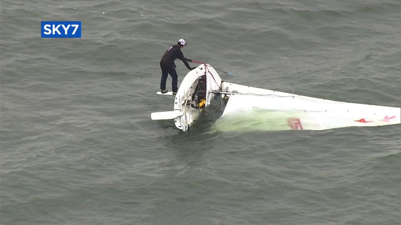 Windy weather flips small sailboat near Berkeley Marina