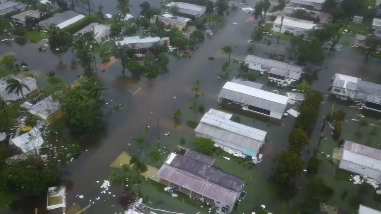 An aerial view of damage from Hurricane Irma in Florida is seen on Sunday, September 10, 2017.