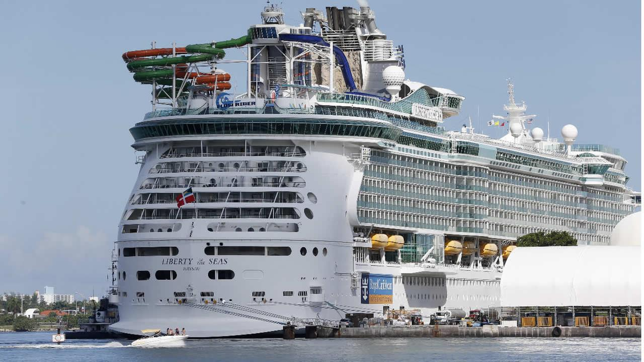 The Royal Caribbean International cruise ship Liberty of the Seas is docked, Tuesday, Aug. 29, 2017, at PortMiami in Miami. (AP Photo/Wilfredo Lee)