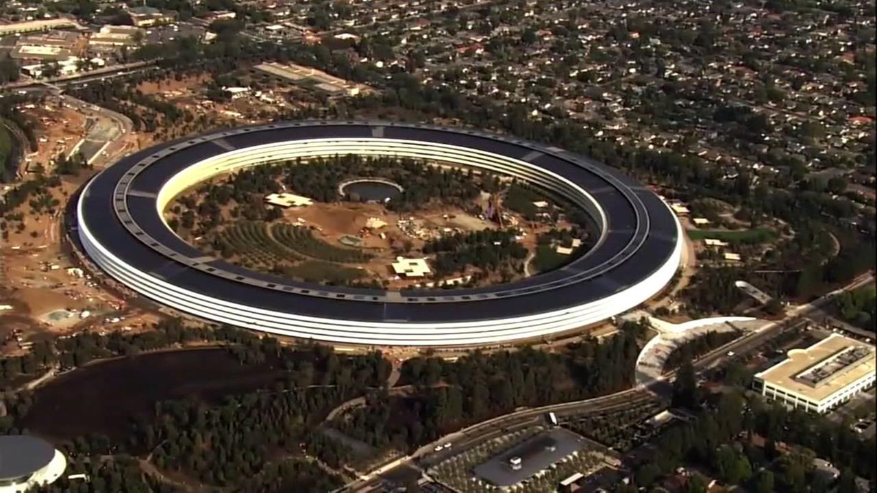 Sky7 was over Apples new campus in Cupertino, Calif. on Tuesday, Sept. 12, 2017.