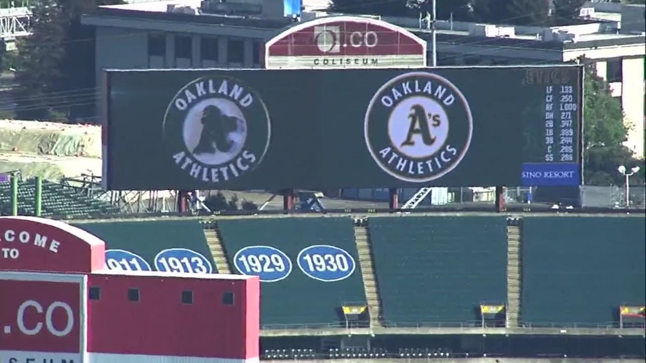 This is an undated image of the Oakland Athletics scoreboard in Oakland, Calif.