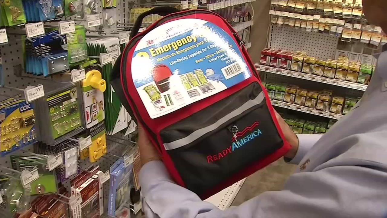 A backpack with emergency supplies are seen inside a store in San Jose, Calif. on Friday, September 15, 2017.
