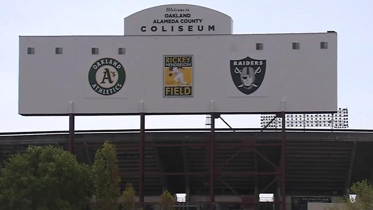 A sign is seen outside the Oakland Coliseum in this undated image.