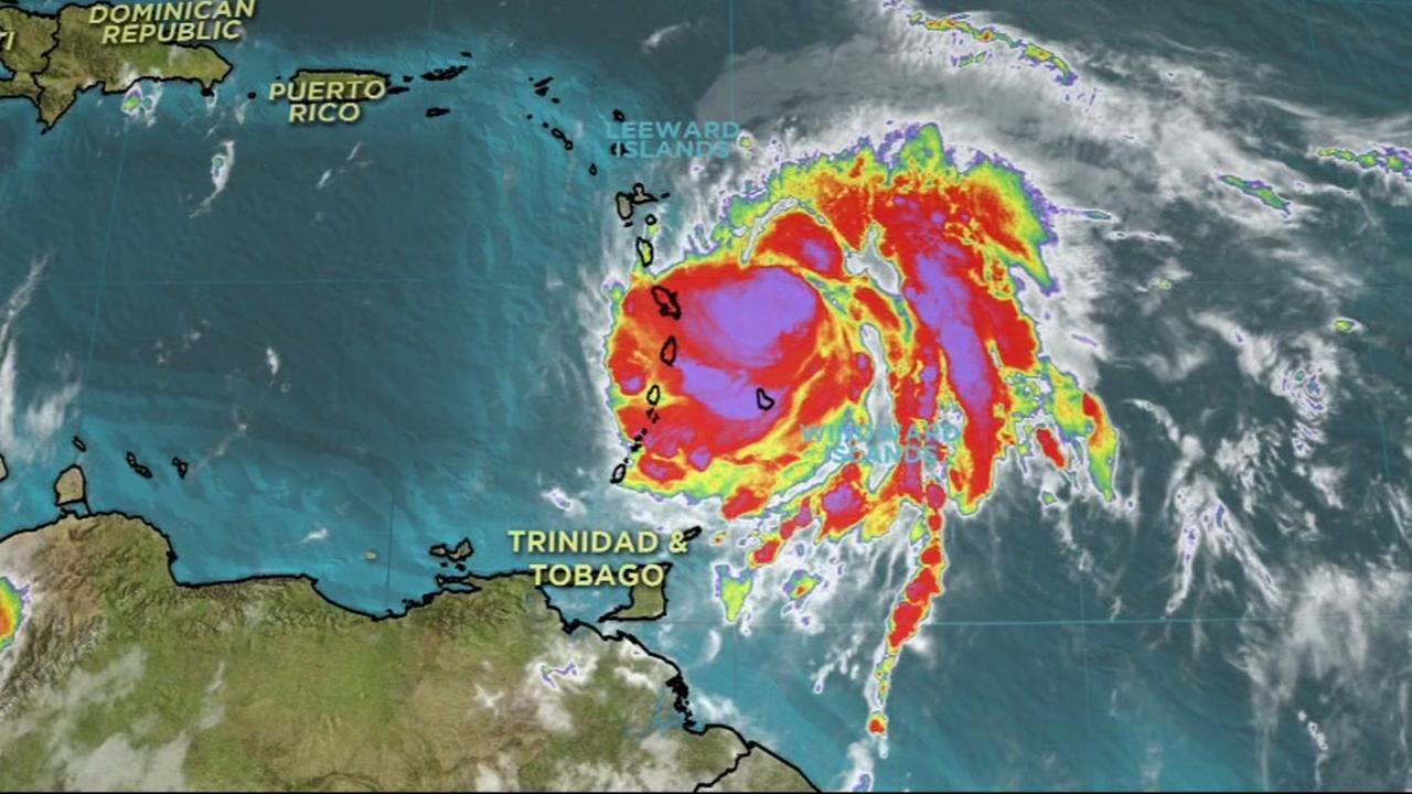 A satellite image shows Hurricane Maria as the eye nears Dominica on Monday, September 18, 2017.