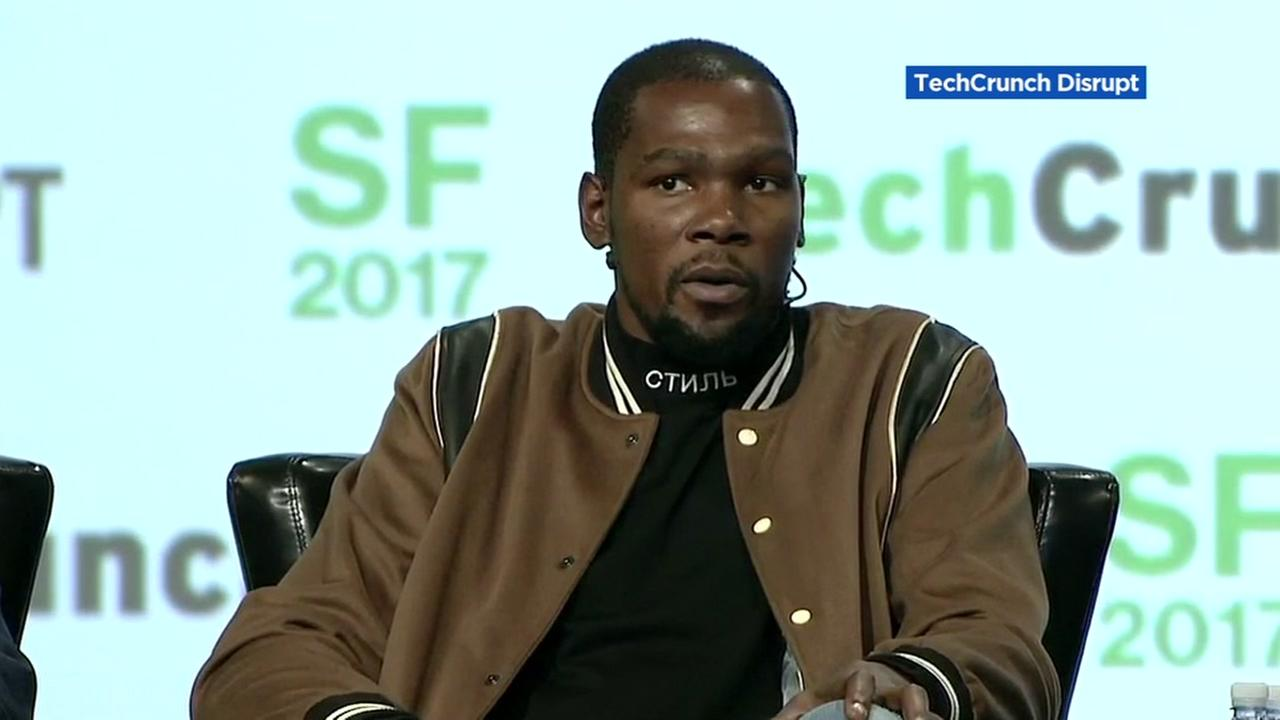 Kevin Durant appears at the San Francisco Tech Cruch Disrupt conference on Tuesday, Sept. 19, 2017.