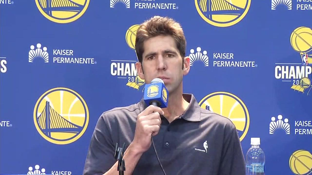 Golden State Warriors General Manager Bob Myers answered questions at the Warriors Media Day in Oakland, California, Friday, September 22, 2017.