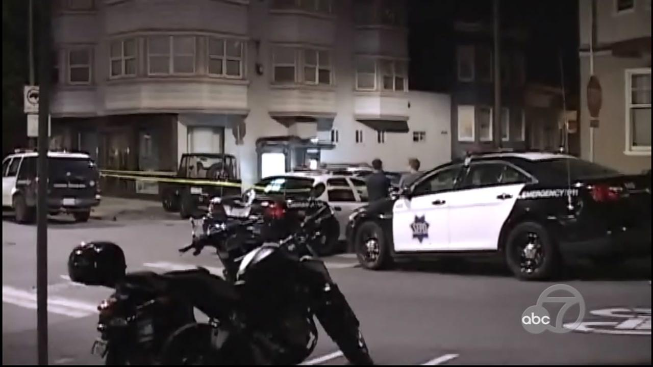 Police investigate an officer-involved shooting on Salmon Street in San Francisco, Calif. on Sunday, September 24, 2017.