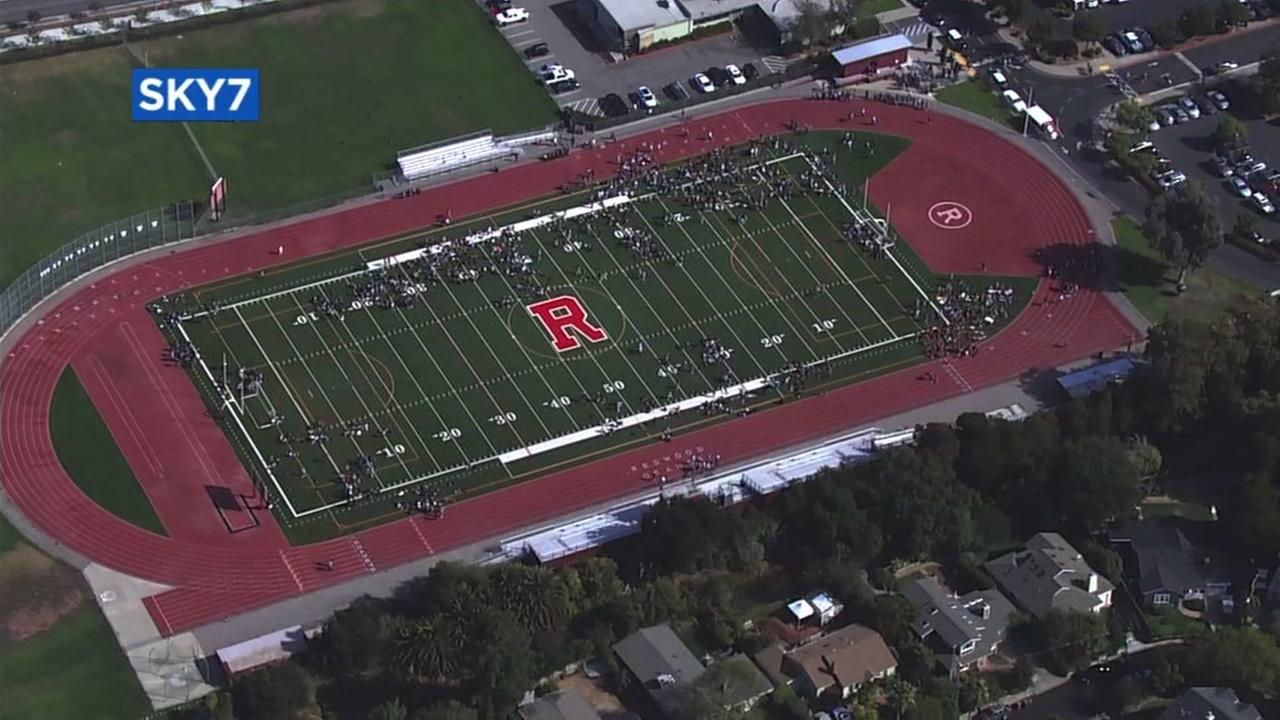 The football field at Redwood High School in Larkspur, Calif. is seen in this image on Tuesday, September 19, 2017.