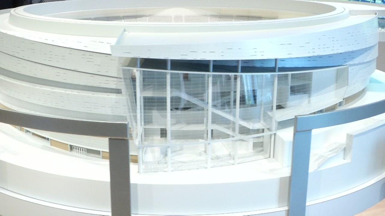 A model of the new Warriors arena, the Chase Center, appears in San Francisco on Friday, Sept. 29, 2017.