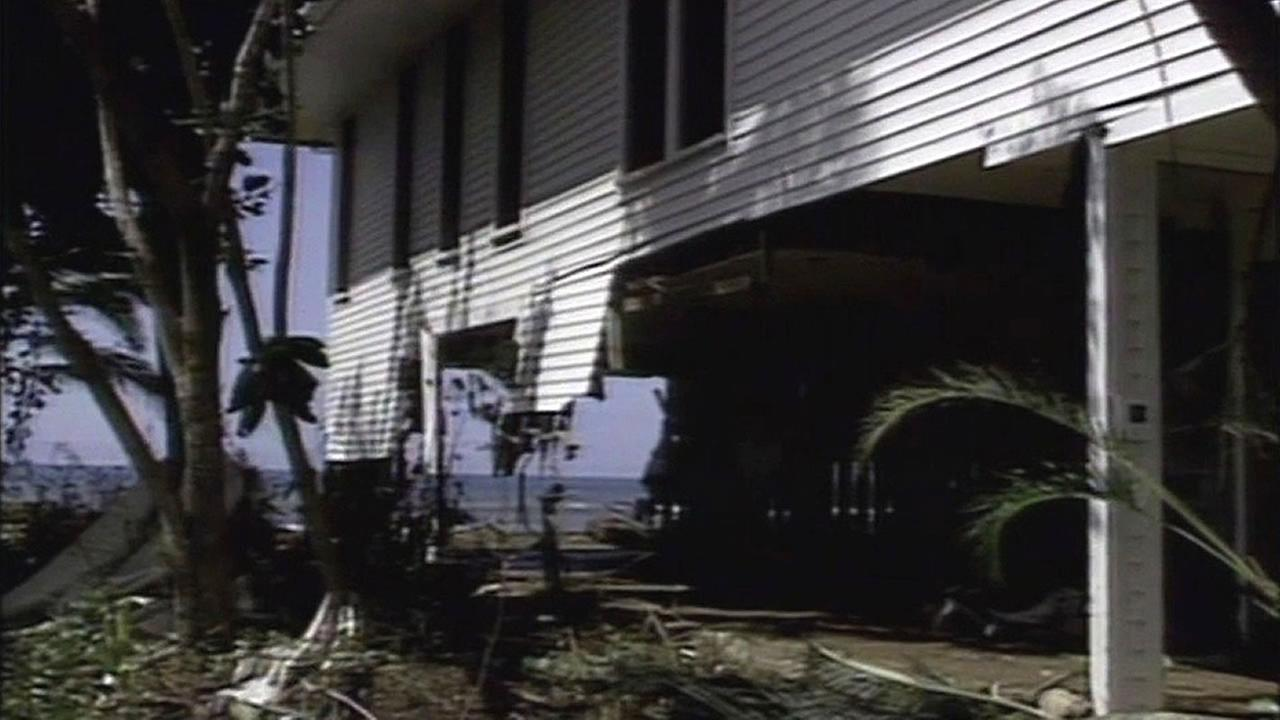 House badly damaged in Hawaii hurricane in 1992