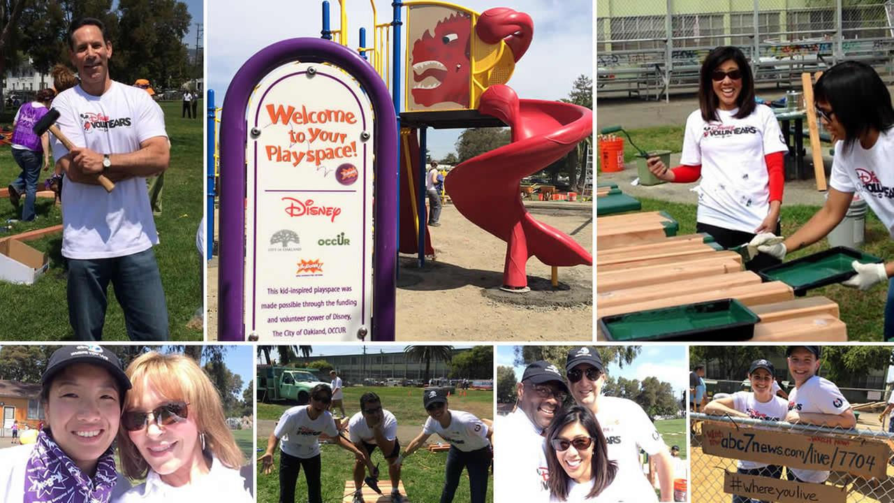 ABC7 and KaBOOM team up to build a dream playground in the Millsmont neighborhood in East Oakland, California, August 8, 2014.