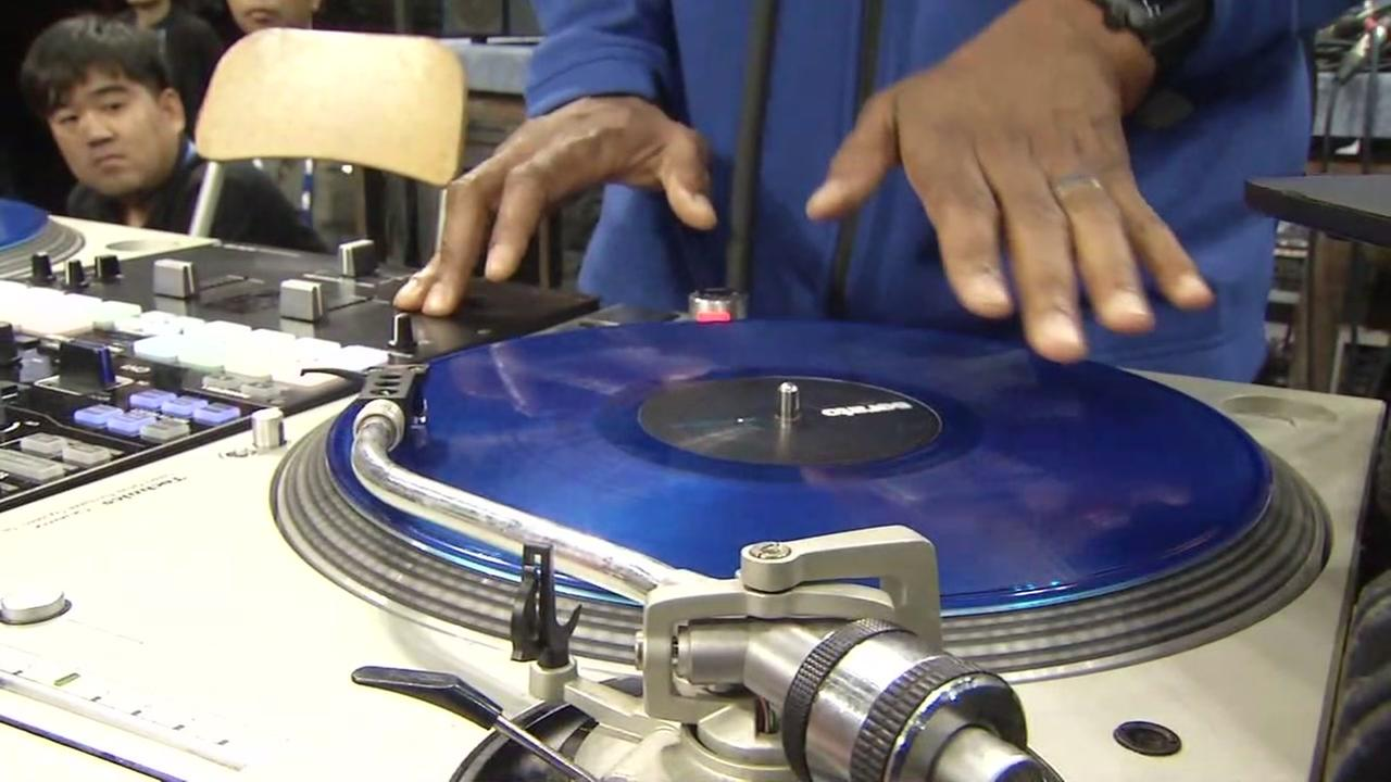 A DJ is seen spinning records while the Golden State Warriors visit China in this undated image.
