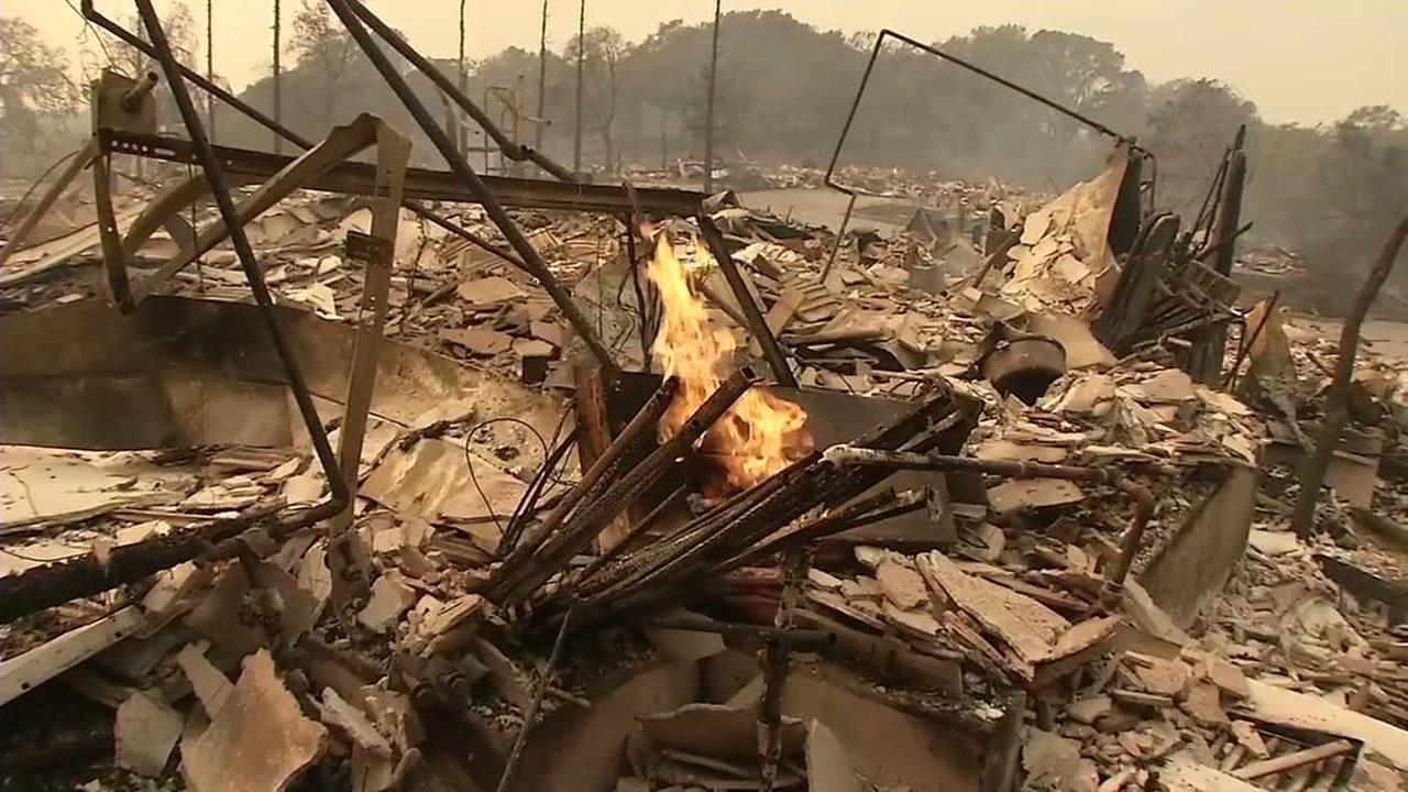 Scraps of a home appear after a devastating wildfire in the North Bay destroyed it on Monday, Oct. 9, 2017.KGO-TV