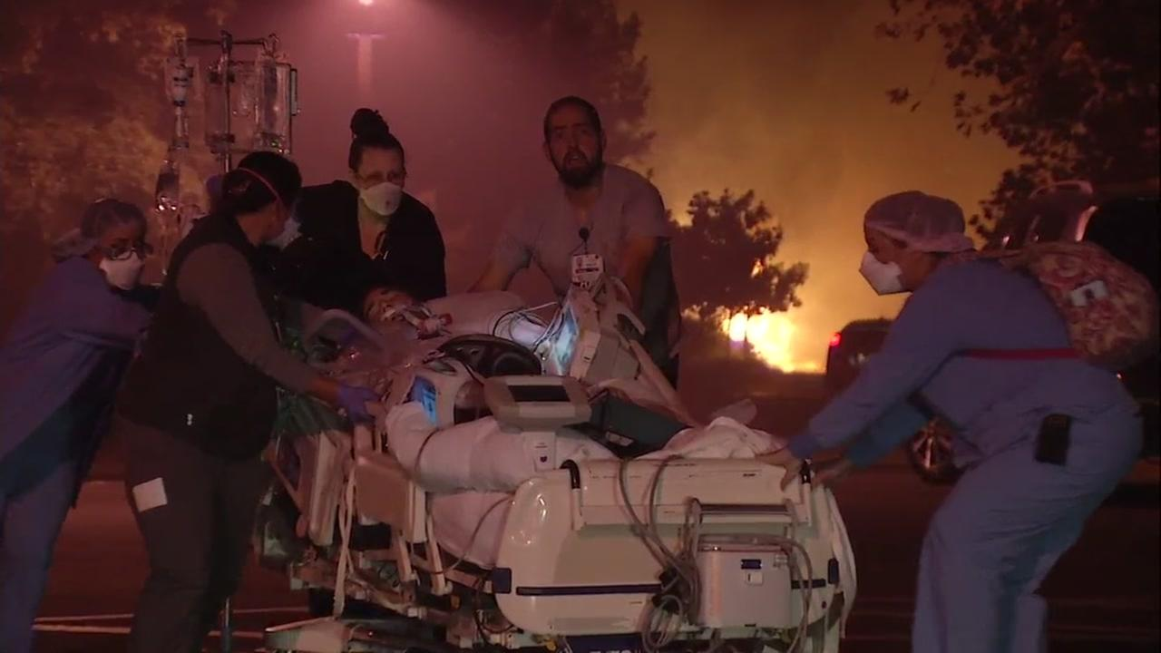 Kaiser Permanente was evacuated due to a raging wildfire in Santa Rosa, Calif. on Monday, Oct. 9, 2017.