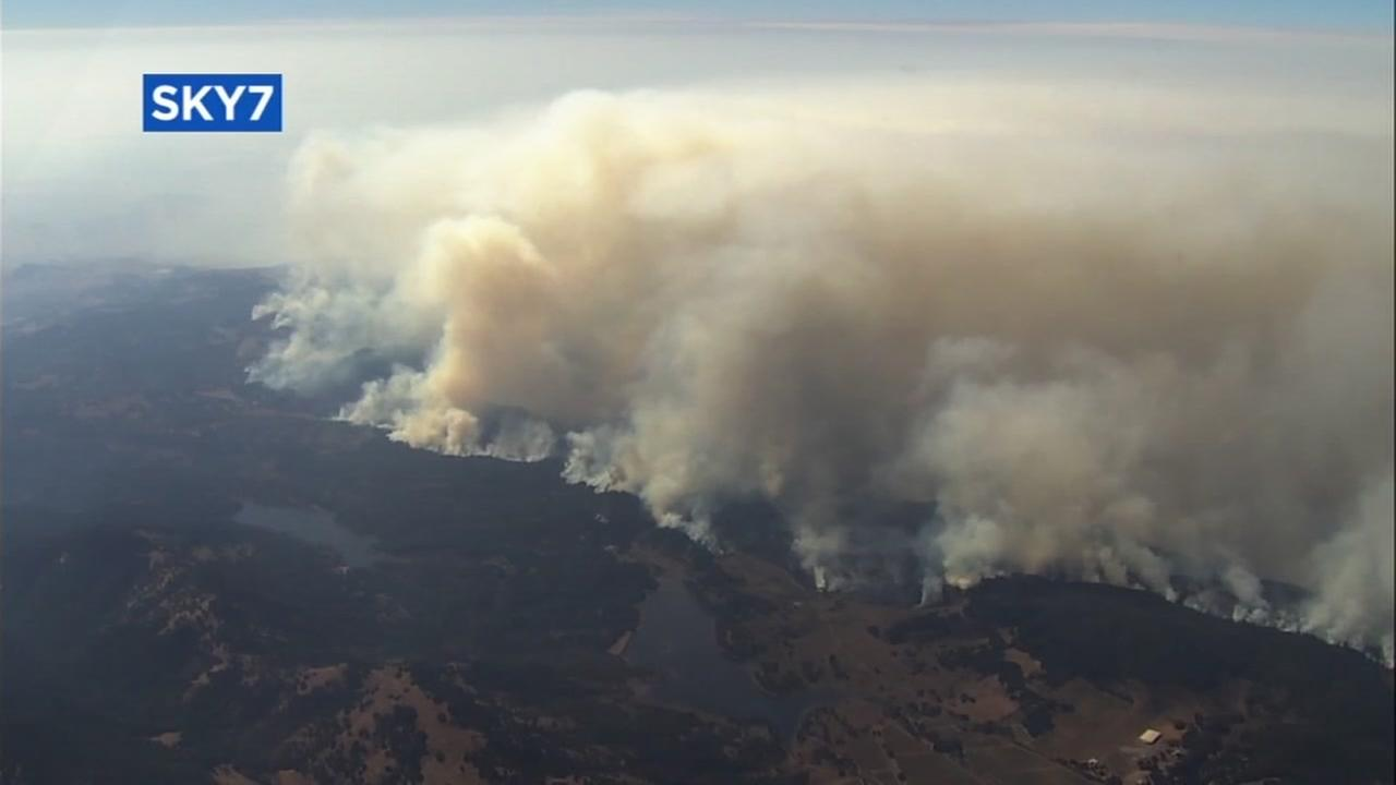This is an updated image of the fires burning in Solano County, Calif.