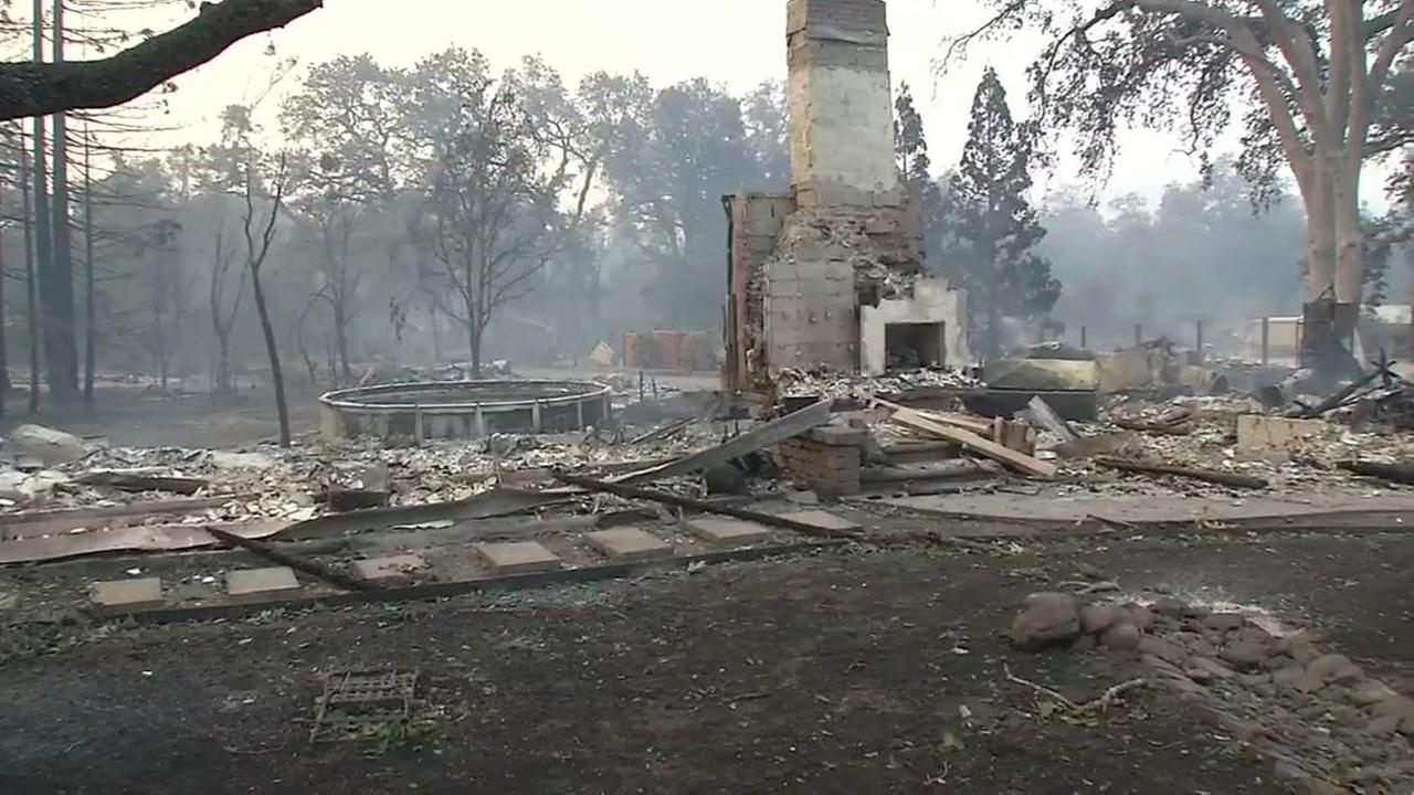 A home is seen reduced to ashes after a wildfire tore through the North Bay on Sunday, October 8, 2017.