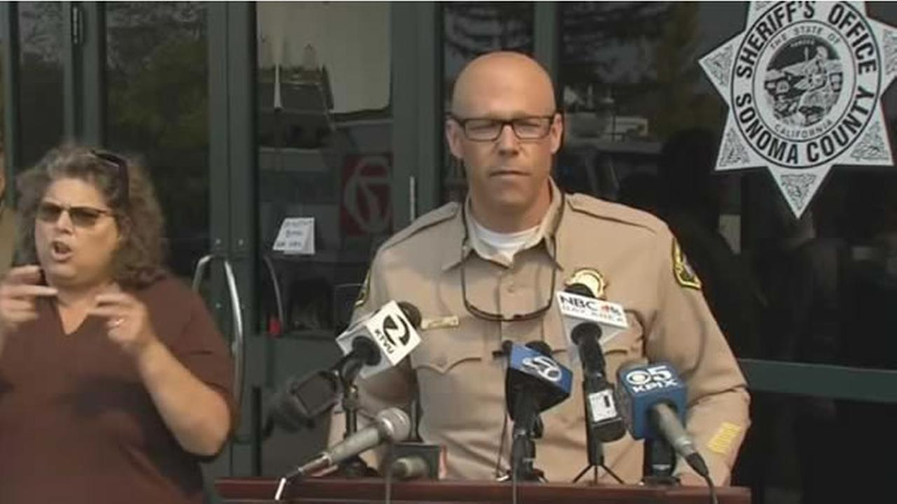 The Sonoma County sheriff speaks during a press conference on Wednesday, Oct 11, 2017.