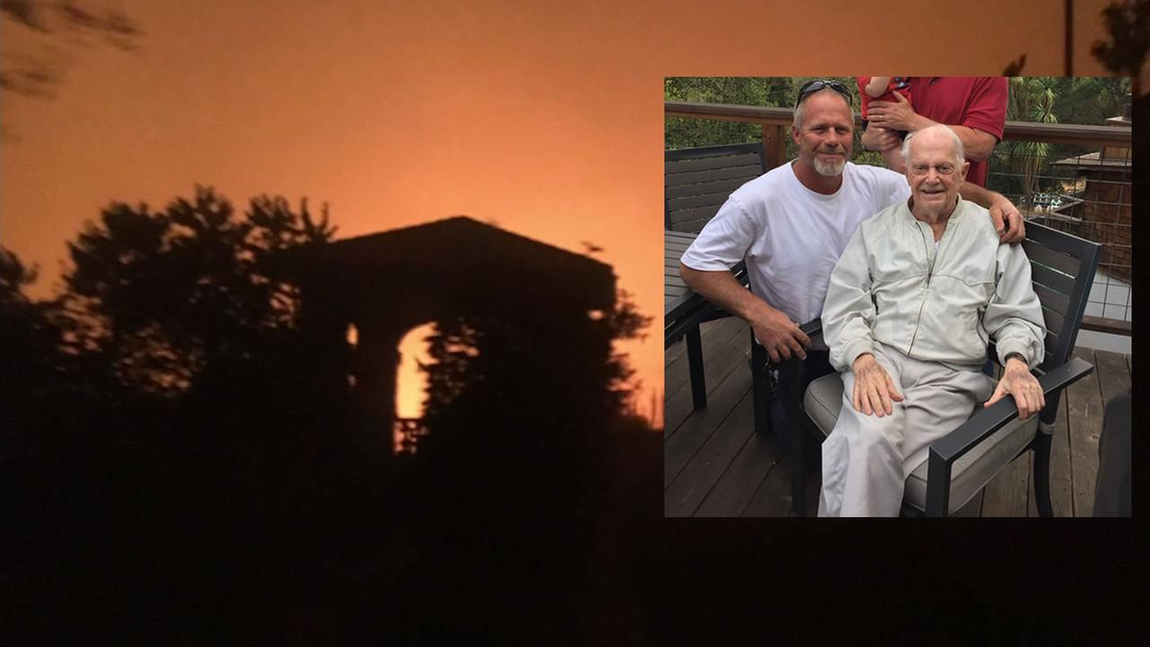RJ Kisling and his grandfather appear in a photo after a fire at a nursing facility in Santa Rosa, Calif. forced evacuations.