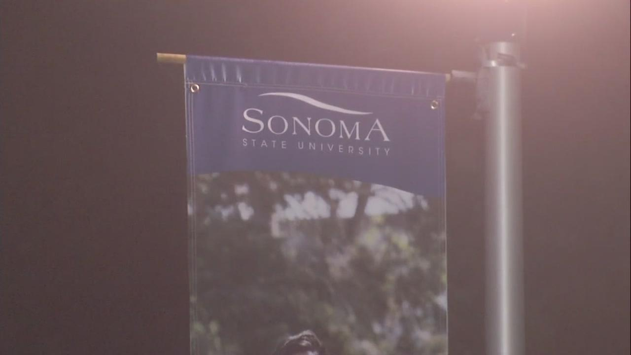 A banner for Sonoma State University is seen in this undated image.