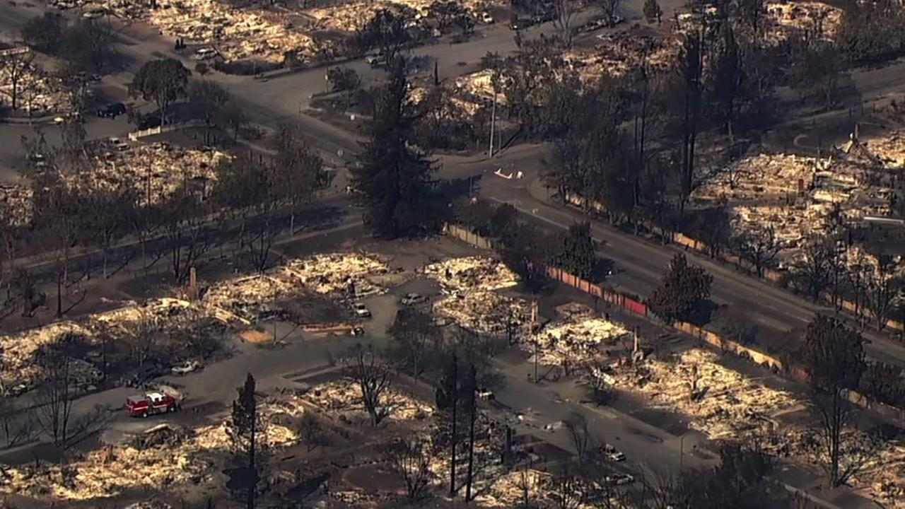 This is an undated image of the devastations for the North Bay fires.