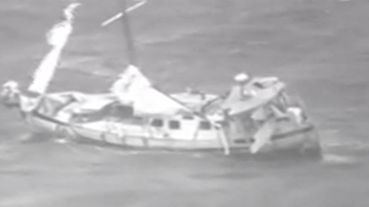 Three Stockton men were rescued aboard this sailboat that was battered by Hurricane Julio in Hawaii.