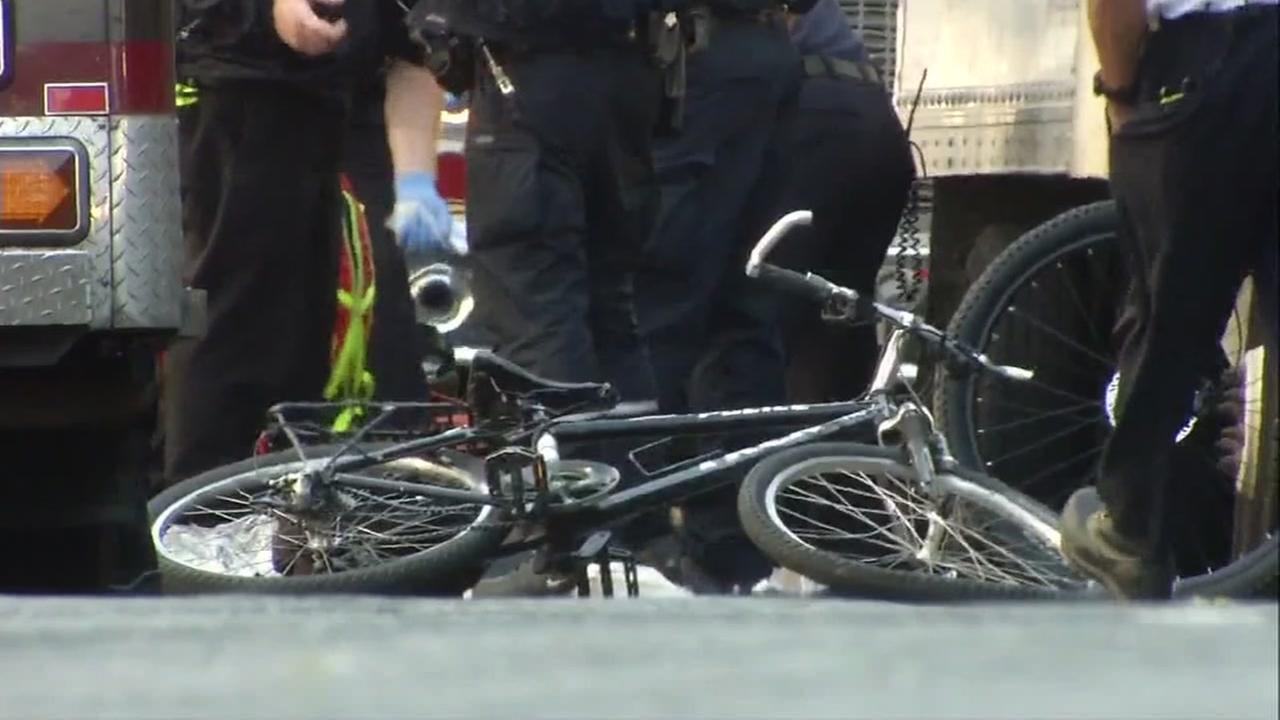 A SFPD bicycle is seen after an accident on Turk Street.