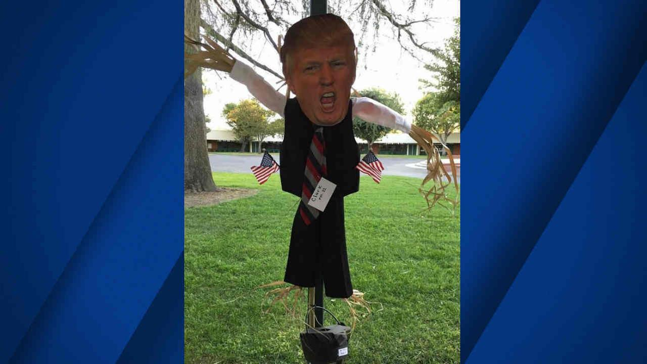 A scarecrow of President Donald Trump is seen at an elementary school in Santa Clarita, Calif. in this undated image.