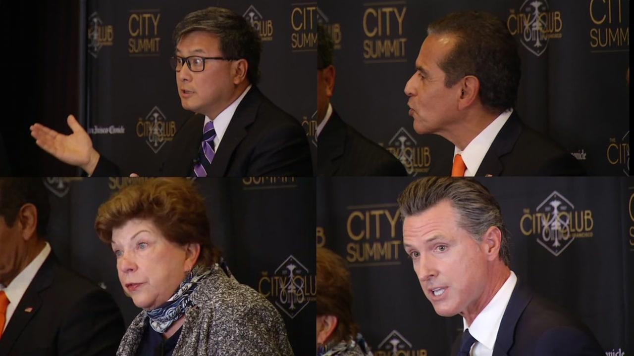 The four leading Democratic gubernatorial candidates are seen during a debate in San Francisco, Calif. on Tuesday, October 24, 2017.