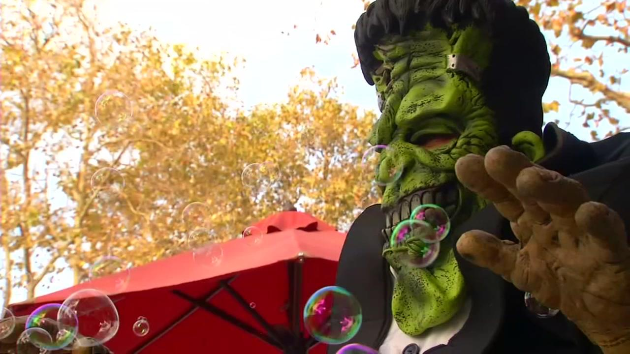 A person in a Frankenstein costume appears on Halloween in the Bay Area, Tuesday, Oct. 31, 2017.