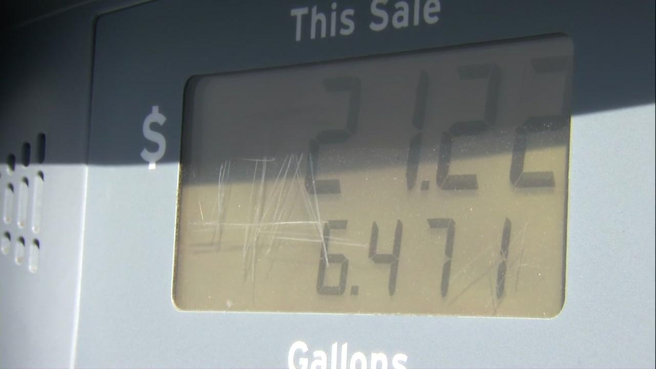 Numbers on a gas pump rise in this undated image.