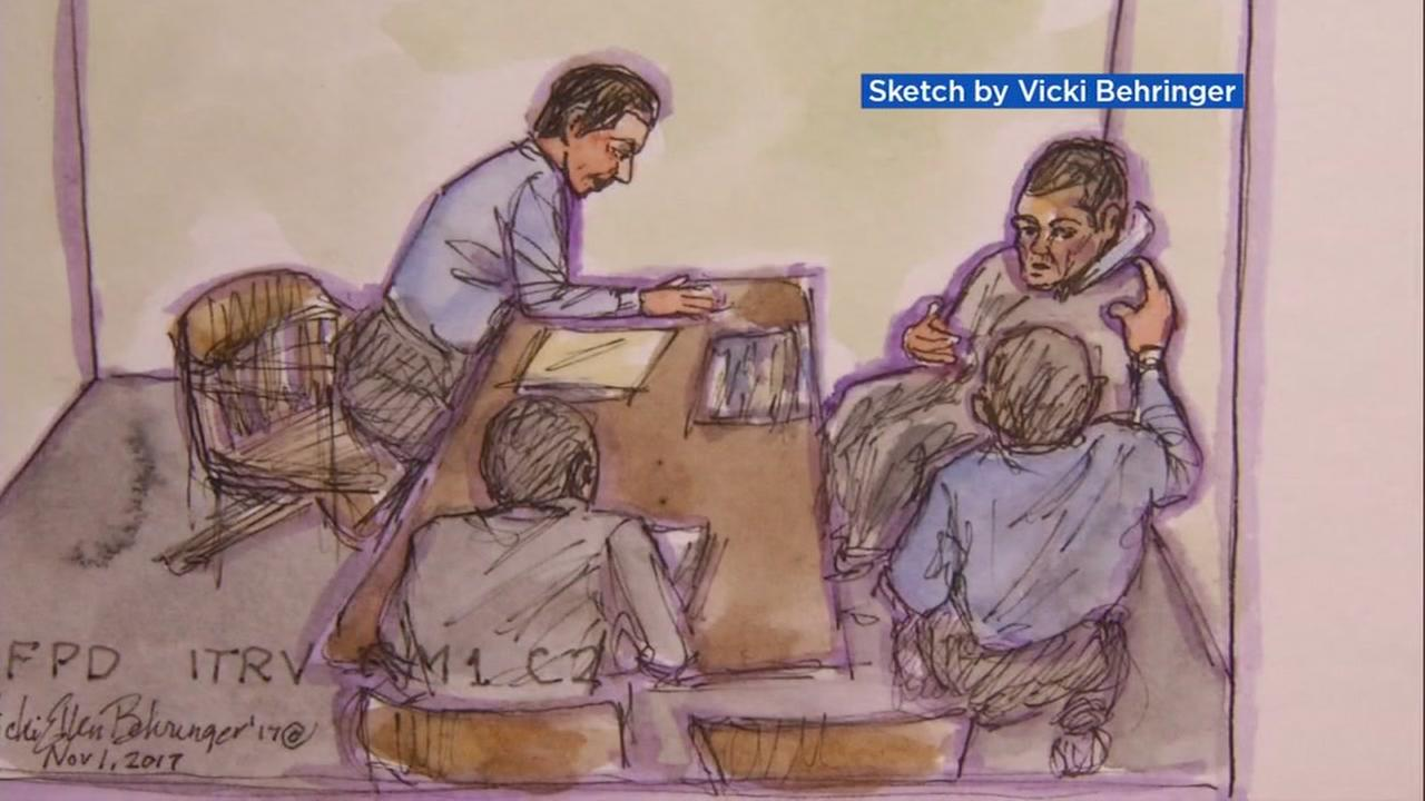 A court sketch by Vicki Behringer from the Kate Steinle murder trial is seen in this undated image.