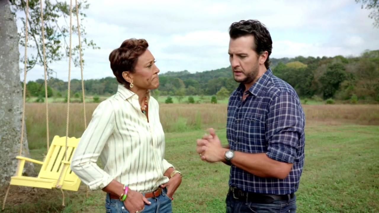 Good Morning Americas Robin Roberts speaks with country music singer Luke Bryan in this undated image.