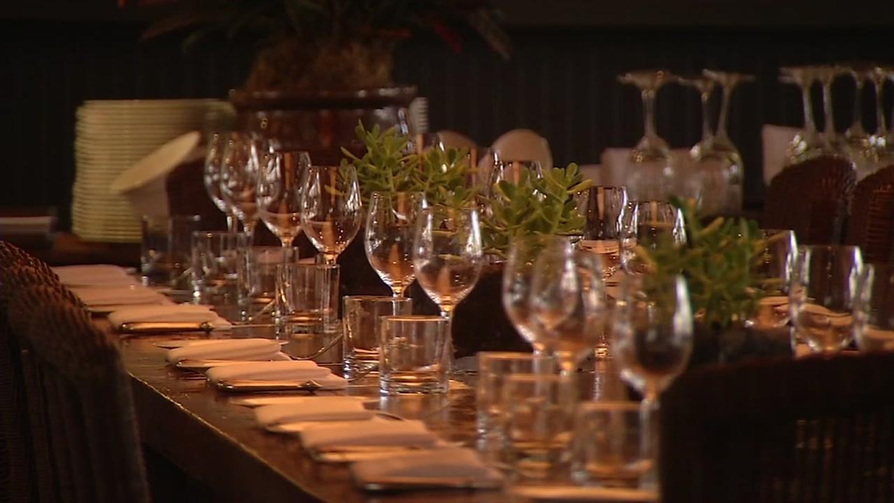 This is an undated image of a dinner table at a winery.