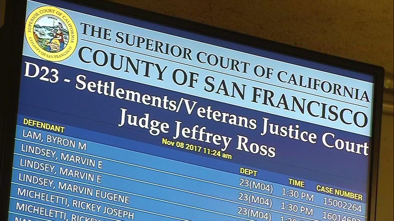 A screen showing information for a court program is seen in San Francisco on Wednesday, November 8, 2017.