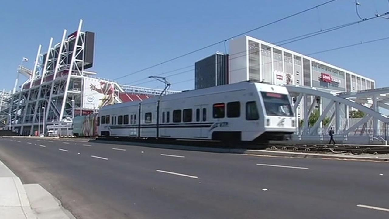 Levis Stadium with a VTA light rail car riding by