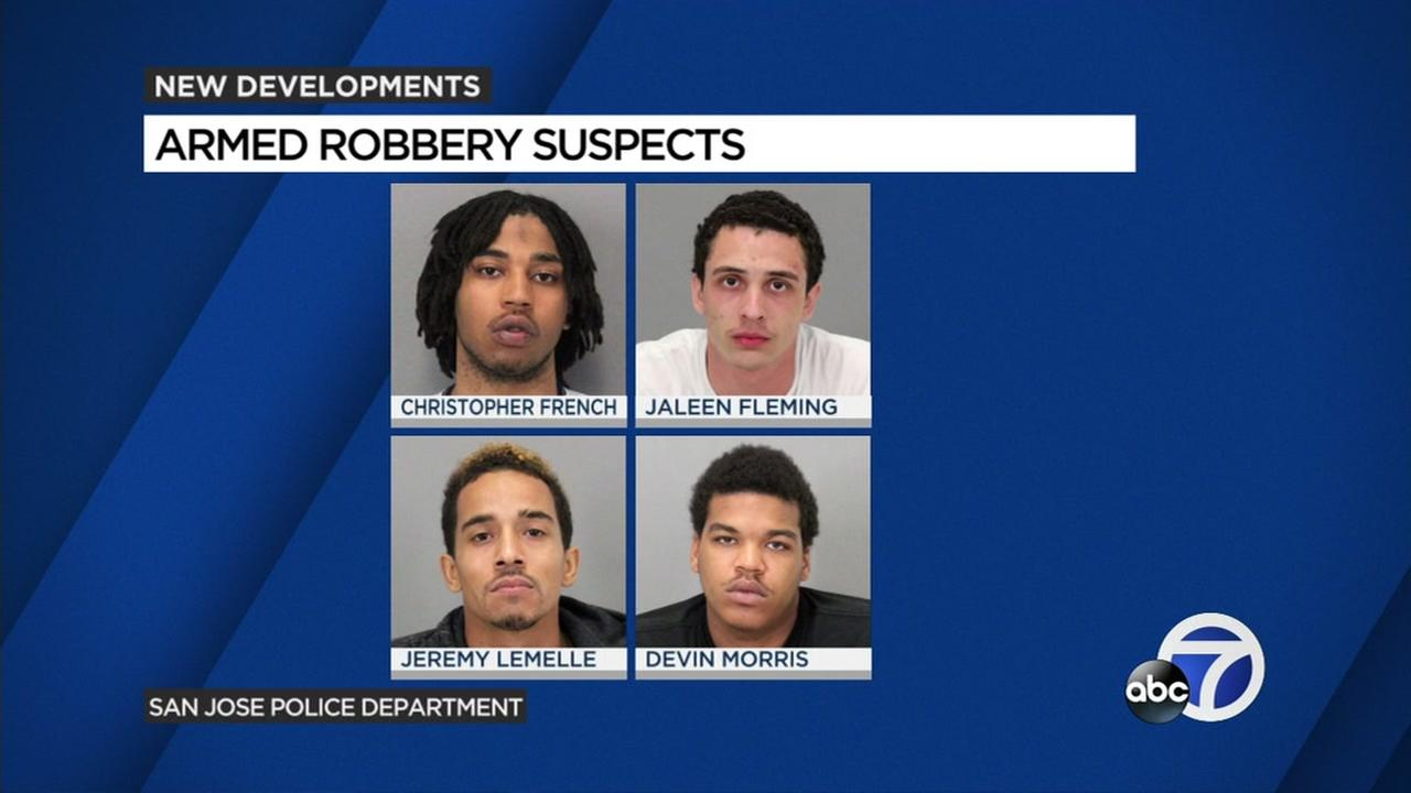 This is a graphic image of four suspects arrested in connection with robberies in East San Jose, Calif.