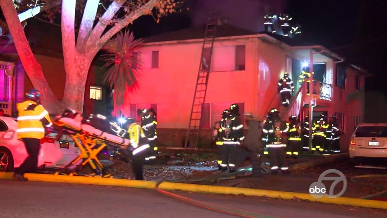 This is an image of fire crews on the scene of a deadly apartment fire in San Jose, Calif. on Saturday, Nov. 18, 2017.