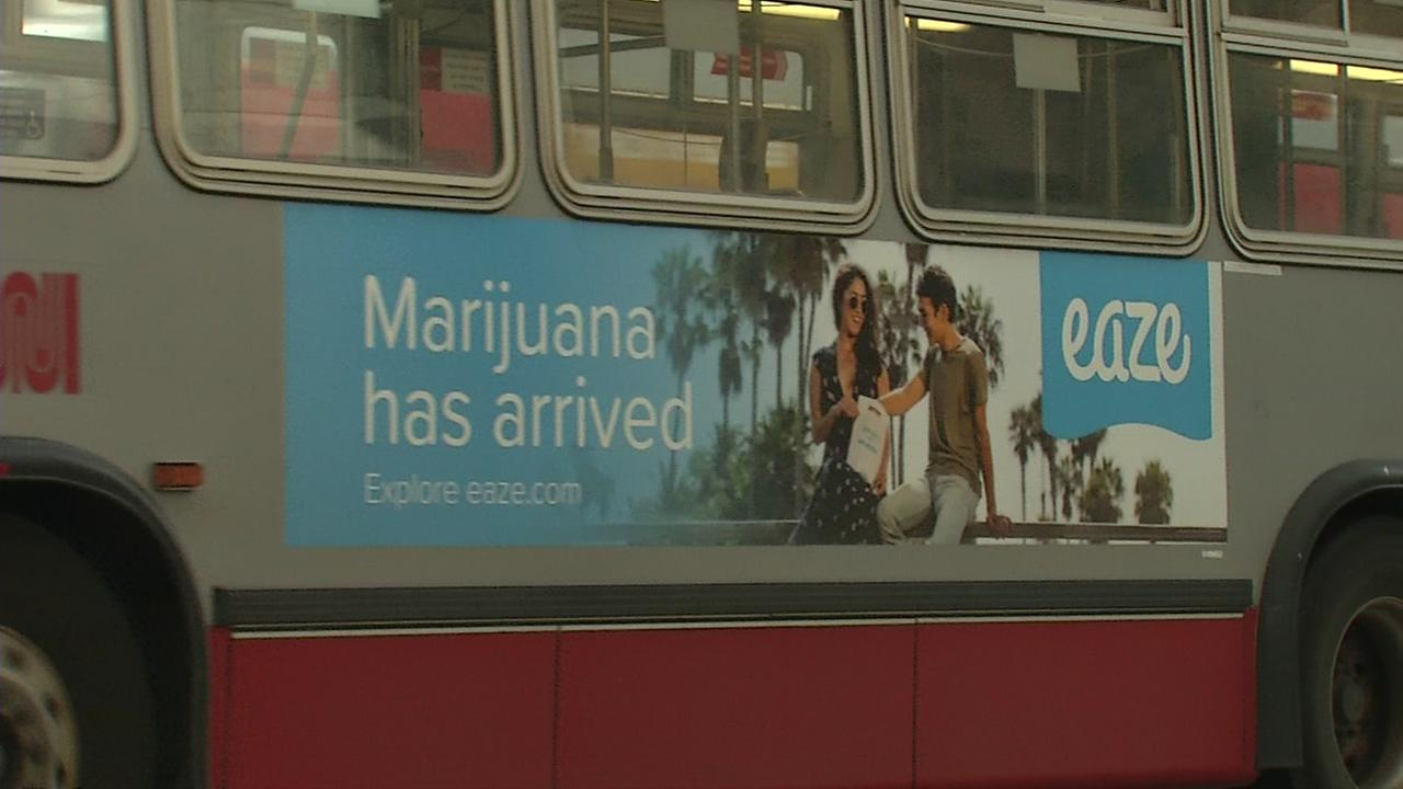 An ad for Eaze marijuana delivery service is seen on the side of a Muni bus in San Francisco, California in this undated image.