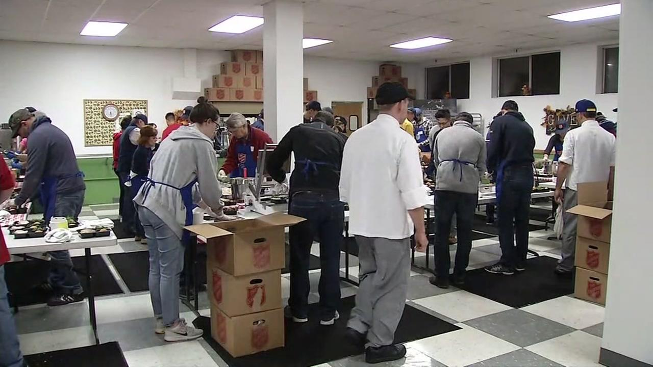 Salvation Army volunteers prepare meals in San Francisco, California, Thursday, November 23, 2017.