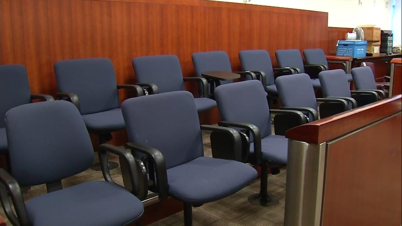 Empty jury seats appear during the Kate Steinle murder trial in San Francisco in Nov. of 2017.