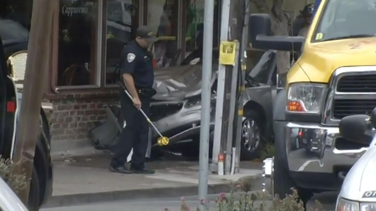 A suspect crashes his car into Freds Place cafe in Sausalito during a police chase.