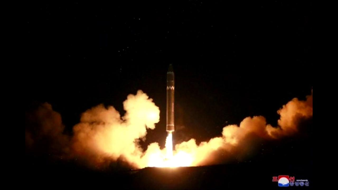 An alleged North Korean missile launch appears in this undated image.