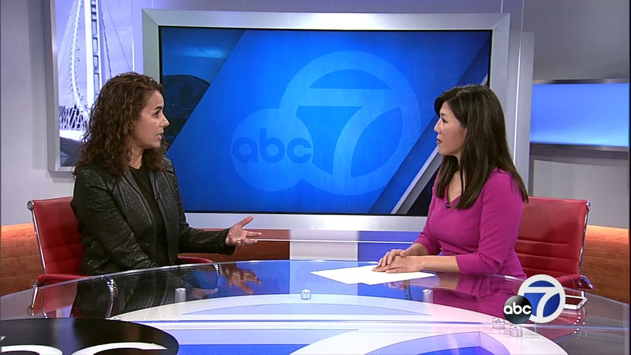 Maha Ibrahim is interviewed by Kristen Sze at ABC7 in San Francisco on Wednesday, Nov. 29, 2017.
